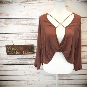 Silence + Noise High Low Rust Top Size XSmall